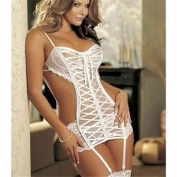 fehér - Női szexi fekete csipke fehérnemű Babydoll hálóruházat fehérnemű ruha G-string Új