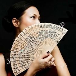 Nincs szín - Vintage összecsukható bambusz eredeti, fából faragott kézi ventilátor esküvői menyasszonyi party AU