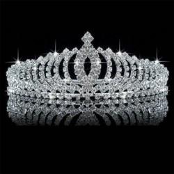 Nincs szín - Esküvői menyasszonyi hercegnő Crystal Prom Hair Tiara korona fejpánt fésűs ajándékkal
