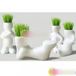 1db Kreatív kerámia fű növény tartó dísz dekoráció