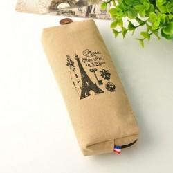 Világosbarna torony - Vintage retro párizsi vászon ceruzatoll tok kozmetikai smink érme tasak táska