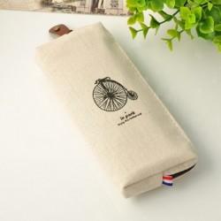 Fehér kerékpár - Vintage retro párizsi vászon ceruzatoll tok kozmetikai smink érme tasak táska