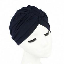 Sötétkék - Női indiai turbán kalap fejpakolás, nyújtható kemo rakott hidzsáb sapka divat