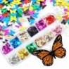 Nincs szín - 12 Rácsok Nail Art Pelyhek Glitter Flitterek Paillette 3D Pillangó Tippek Dekoráció