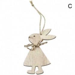 Kávé és fehér íj - Húsvéti ajándék fa húsvéti nyuszi medál nyúl lakberendezési függő fa Y1I5