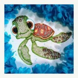 Nincs szín - 5D barkács teljes fúrással gyémántfestés teknős hímzés mozaik kézműves készlet