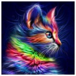 Nincs szín - 5D gyémántfestés, kerek fúrású macska keresztszemes mozaik képkészlet