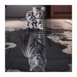 40 * 40cm - 5D barkács teljes fúrással gyémántfestés reflexió macska keresztszemes hímzés 9DE