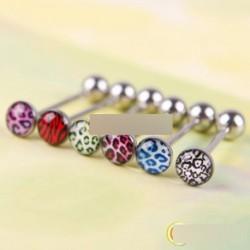 6db Vegyes színes leopárdmintás piercing