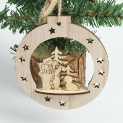 1db karácsonyi bál (10 * 10cm) - DIY 3D karácsonyfa fa medálok függő karácsonyi dekoráció otthoni party dekoráció