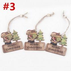3db 6x7cm-es Boldog Karácsonyt feliratos - Mackó mintás fa dísz - Karácsonyi dekoráció - 3