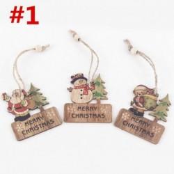 * 1 3db (6 * 7cm) - DIY 3D karácsonyfa fa medálok függő karácsonyi dekoráció otthoni party dekoráció