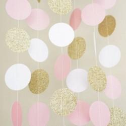 Nincs szín - Csillogó kör pöttyös Garland Banner sármány rózsaszín arany party dekorációs ajándék