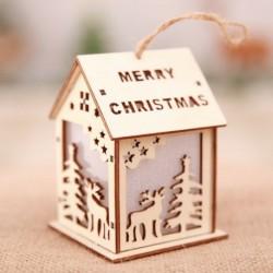 Nagy Elk - Led könnyű fa ház aranyos karácsonyfa függő díszek ünnepi dekoráció amerikai