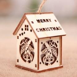 Kis Harang - Led könnyű fa ház aranyos karácsonyfa függő díszek ünnepi dekoráció amerikai