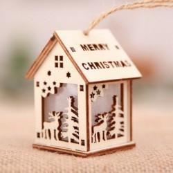 Kis Elk - Led könnyű fa ház aranyos karácsonyfa függő díszek ünnepi dekoráció amerikai