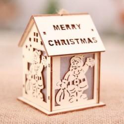 Nagy Mikulás - Led könnyű fa ház aranyos karácsonyfa függő díszek ünnepi dekoráció amerikai