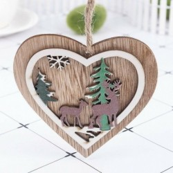 1db Szív Elk (10 * 10cm) - 3D karácsonyfa fából készült medálok függő DIY karácsonyi dekoráció otthoni party