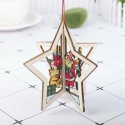 1db csillagmedve (10 * 10cm) - 3D karácsonyfa fából készült medálok függő DIY karácsonyi dekoráció otthoni party