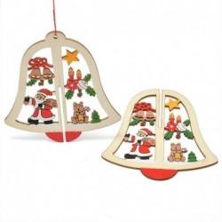 1db Harang - 3D karácsonyfa fából készült medálok függő DIY karácsonyi dekoráció otthoni party dekorációval