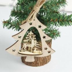 1db karácsonyfa 10cm - 3D karácsonyfa fából készült medálok függő DIY karácsonyi dekoráció otthoni party
