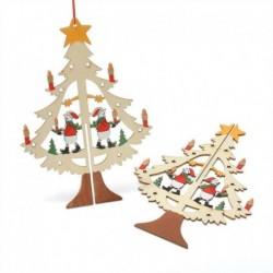 100PCS vegyes méretű szív - 3D karácsonyfa fából készült medálok függő DIY karácsonyi dekoráció otthoni party