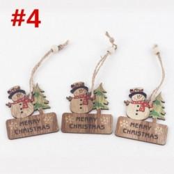 * 4 3db (6 * 7cm) - 3D karácsonyfa fából készült medálok függő DIY karácsonyi dekoráció otthoni party dekorációval