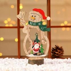 1db Red Hat hóember (18x6cm) - 3D karácsonyfa fából készült medálok függő DIY karácsonyi dekoráció otthoni party