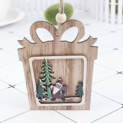 1db ajándék doboz (10 * 10cm) - 3D karácsonyfa fából készült medálok függő DIY karácsonyi dekoráció otthoni party