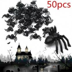 Nincs szín - 50 x kicsi fekete műanyag hamis pókjáték Halloween vicces tréfa tréfa