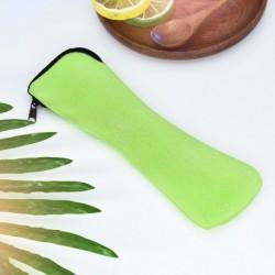 Zöld - Hordozható pálcika kanál villás evőeszköz táska vacsora utazási kemping étkészlethez