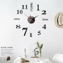 Fekete - DIY 3D fali óra római számok nagy tükrök felülete luxus nagy művészi óra Egyesült Királyság