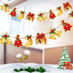 * 7 1PC harisnya (2m) - Karácsonyi party függő dekoráció Mikulás hóember karácsonyi fa díszek