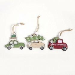 3db autó (6 * 8cm) - Karácsonyi party függő dekoráció Mikulás hóember karácsonyi fa díszek