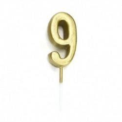 9-es - Arany színű számgyertya tortadísz szülinapra