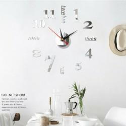 Ezüst - Modern DIY nagy falióra 3D tükör felületi matrica otthoni irodai szoba dekoráció USA