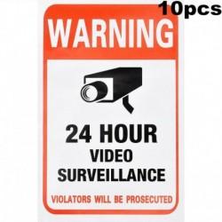 Nincs szín - 10db felügyeleti biztonsági kamera videó matrica figyelmeztető matricák 10 x 15 cm