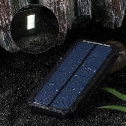 Fekete - 50000mAh Solar Power Bank vízálló 2 USB LED akkumulátor töltő mobiltelefonhoz