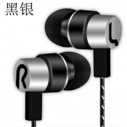 Ezüst - Vezetékes fülhallgatós sztereó fejhallgató mikrofonnal és MIC Super Bass zenei fülhallgató fülhallgatóval ~