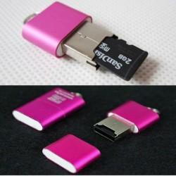 Nincs szín - 1PC USB 2.0 nagysebességű Mini Micro SD TF T-Flash memóriakártya-olvasó adapter rózsaszín