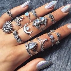 14db / készlet - 12db ezüst / arany Boho verem sima csülök felett Midi ujj gyűrűk készlet ajándék