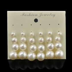 12 pár / készlet - 24 pár divat női strasszos kristály gyöngy fülbevaló ékszer ajándék