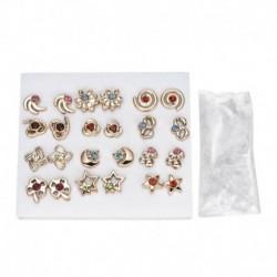 * 3 12pár arany - 24 pár divat női strasszos kristály gyöngy fülbevaló ékszer ajándék