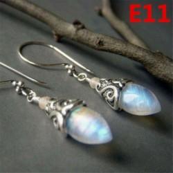 * E11 (27x45mm) - Női ametiszt holdkő opál rubin topáz dangle csepp fülbevaló kampós ékszerek