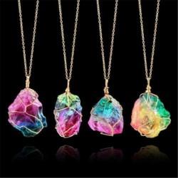 Nincs szín - Szivárvány kő természetes kristály csakra sziklalánc kvarc medál nyaklánc ékszer