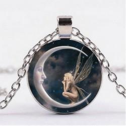Nincs szín - Tündér a Holdon Photo Cabochon üveg ezüst lánc medál nyaklánc ékszerek ÚJ