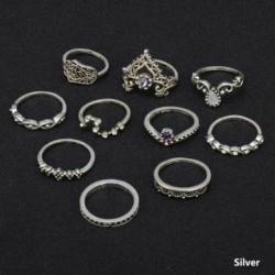 4db szívlevél szett arany - 12db ezüst / arany Boho verem sima csülök felett Midi ujj gyűrűk készlet ajándék