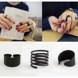Nincs szín - 3PCS sávos középgyűrűk fekete verem sima nyitott állítható csuklógyűrű felett