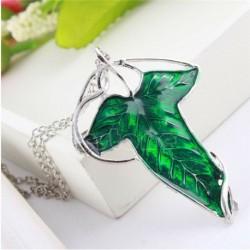 Nincs szín - Új évjáratú Gyűrűk Ura zöld levél tünde tű bross medál lánc nyaklánc