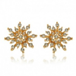* 5 Arany Stud fülbevaló (2cm) - Ezüst csillag hópehely strasszos kristály karácsonyi fülbevalók nyaklánc ékszer szett